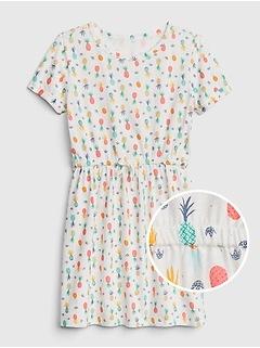 Kids Pineapple Cinched-Waist Dress