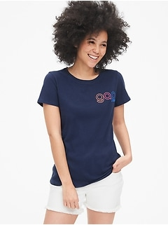 Embroidered Gap Logo Crewneck T-Shirt
