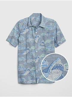Chambray Shark Short Sleeve Shirt
