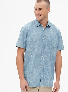 Print Denim Short Sleeve Shirt