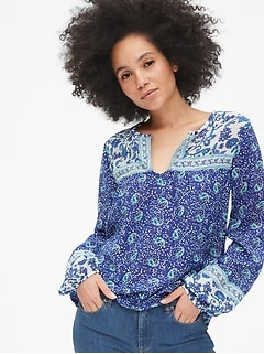 Mix-Print Split-Neck Blouse