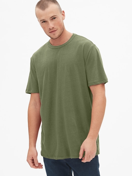 Crewneck T-Shirt in Linen-Cotton