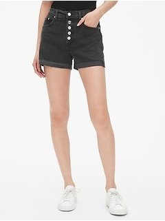 "High Rise 4"" Denim Shorts with Button-Fly"