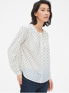 Long Sleeve Shirred Blouse in Clip-Dot