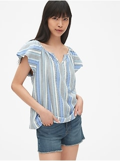 Dobby Stripe Flutter Sleeve Split-Neck Top