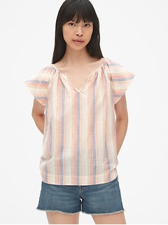 Stripe Flutter Sleeve Split-Neck Top