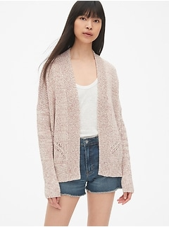 Pointelle Open-Front Cardigan Sweater
