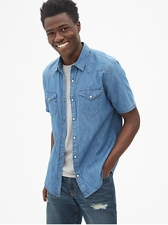 Slim Fit Denim Short Sleeve Western Shirt