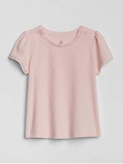 Baby Picot-Trim Short Sleeve T-Shirt