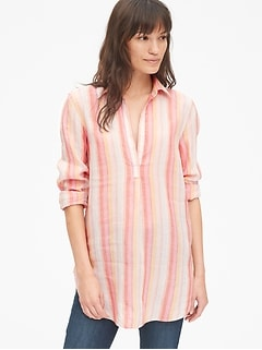 Boyfriend Stripe Popover Tunic in Linen