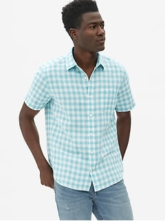Linen-Cotton Short Sleeve Shirt in Standard Fit