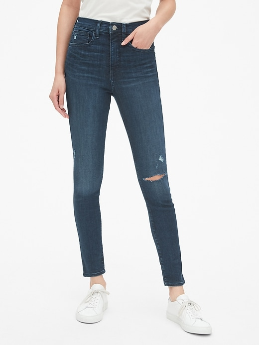 High Rise Distressed Favorite Jeggings with Secret Smoothing Pockets