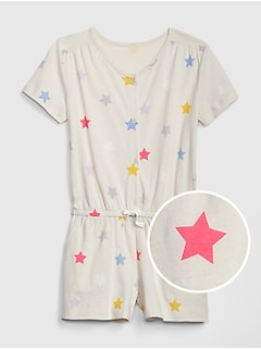 Kids Print Button-Front Romper