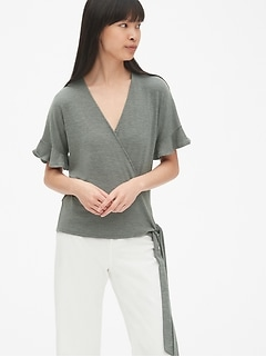 Softspun Flutter Sleeve Wrap Top