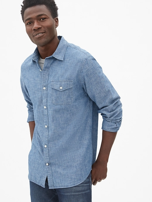 Button-Flap Pocket Shirt in Chambray