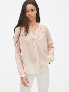Long Sleeve Shirred Blouse