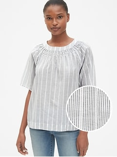 Short Sleeve Smocked Crewneck Top in Dobby Stripe