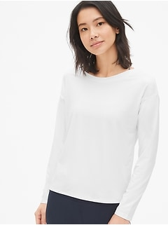 GapFit Tie-Back Sweatshirt in Brushed Tech Jersey