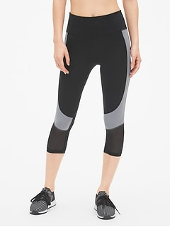GapFit High Rise Blackout Colorblock Mesh-Insert Capris