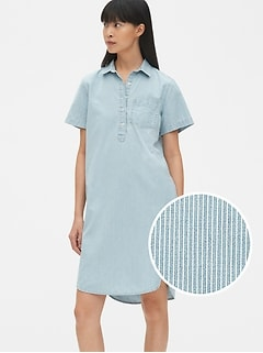 Perfect Stripe Denim Popover Shirtdress