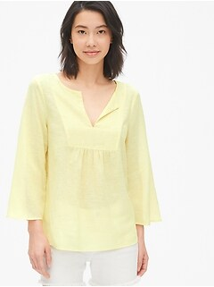 Bib-Front Split-Neck Top in Linen