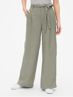 High Rise Wide-Leg Pants in Linen-Blend