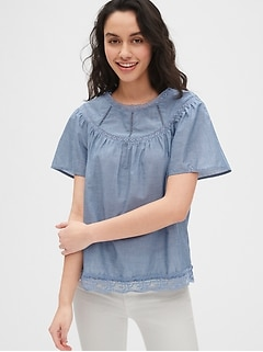 Lace-Trim Chambray Flutter Sleeve Blouse
