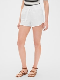 "3.25"" Drawstring Shorts with Frayed Hem"