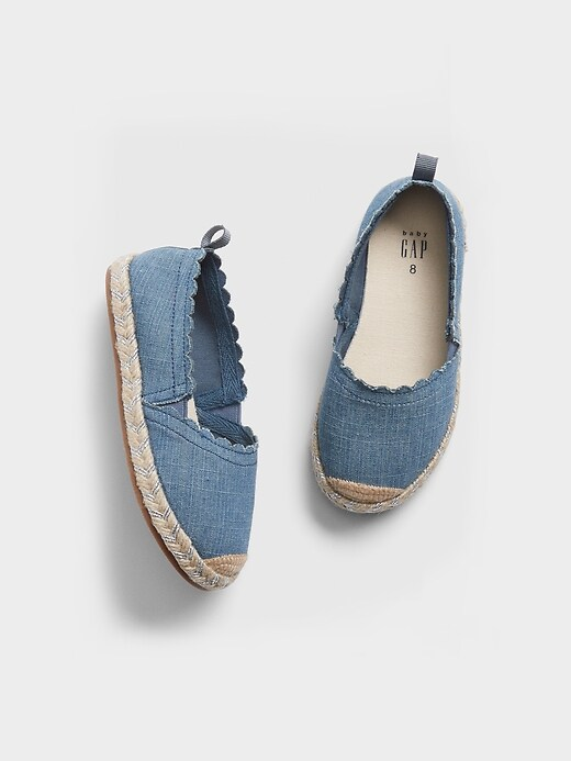 Toddler Chambray Scalloped Espadrille Flats