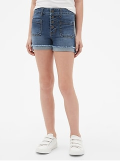 Kids High Rise Shortie Shorts