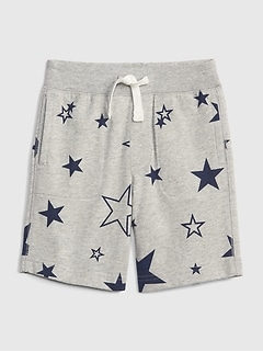 Print Pull-On Shorts in Stretch Jersey
