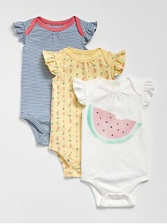 Baby Watermelon Flutter Bodysuit (3-Pack)