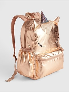 Kids Metallic Unicorn Senior Backpack