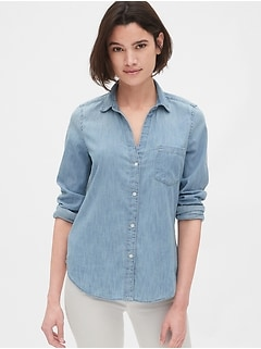 Denim Fitted Boyfriend Shirt
