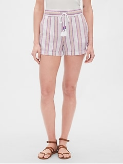 "3.5"" Stripe Tassel Shorts in Linen-Cotton"