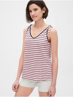 Stripe Tie-Shoulder V-Neck Tank Top
