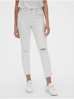 f1b420c1053 High Rise True Skinny Ankle Jeans with Distressed Detail