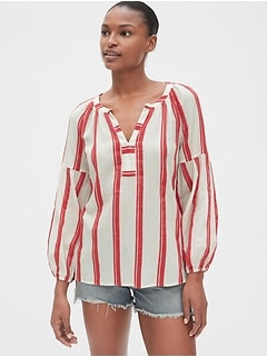 Jacquard Stripe Split-Neck Top