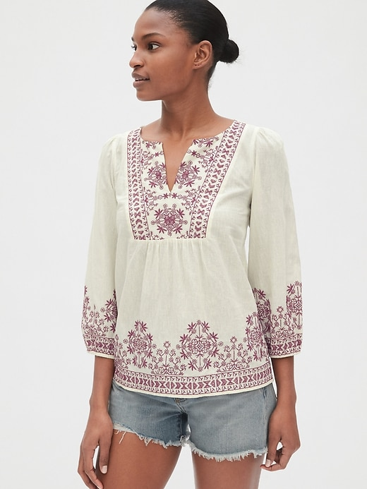 Embroidered Bib-Front Blouse