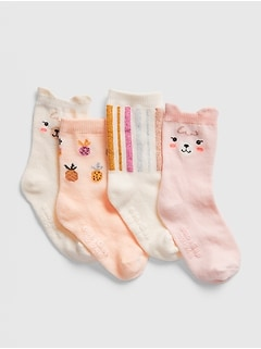 Toddler Graphic Crew Socks (4-Pack)