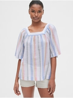Stripe Square-Neck Top in Linen-Blend