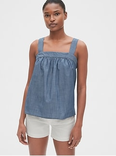 Apron Tank Top in Chambray
