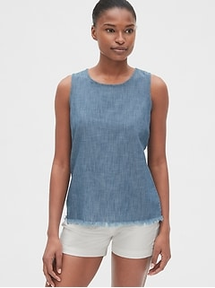 Frayed-Hem Tank Top in Chambray