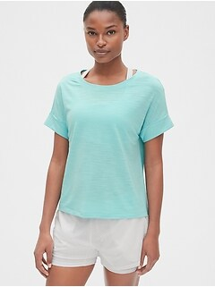 GapFit Slub Roll Sleeve T-Shirt