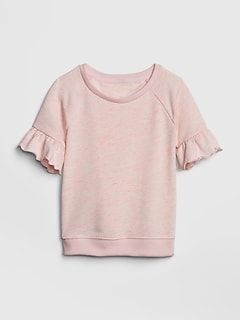Short Ruffle Sleeve Pullover Top in French Terry