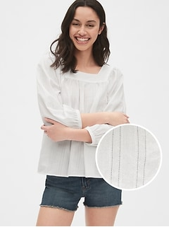 Blouson Sleeve Square-Neck Blouse