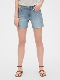 "Mid Rise 5"" Denim Shorts with Distressed Detail"