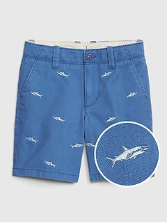 Embroidered Shark Khaki Shorts