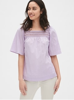 Eyelet Embroidered Square-Neck Blouse in Dobby Stripe