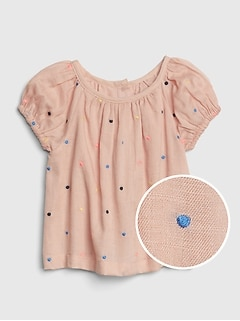 Baby Dot Puff-Sleeve Top